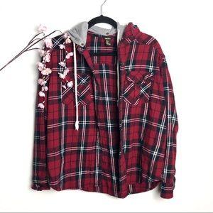 Forever 21 Red & Black Plaid Hooded Flannel Jacket